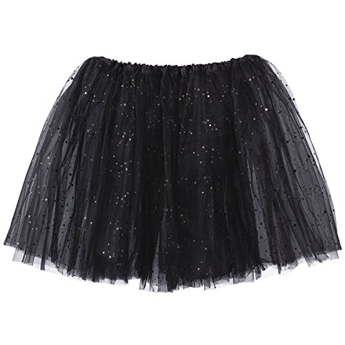 My Lello Big Girls Sparkle Tutu 3-Layer Ballerina (4T-8yr) (Black Tutu Kids)