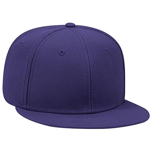 Wool Blend Snap - OTTO SNAP Wool Blend Twill Round Flat Visor 6 Panel Pro Style Snapback Hat - Purple