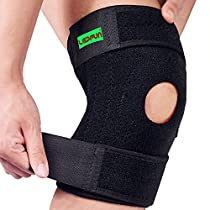 Lepfun S5200 Knee Brace Support with Open Patella Protector Wrap and Lateral Stabilizers for Hiking,Basketball, Arthritis, Joint Pain, Meniscus Tear and Athlete(1 Piece)