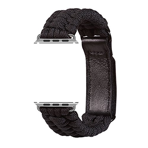 XUANTAI Apple Watch Band 42mm M/L Paracord Replacement Band With Leather Adjustable Clasp for Apple Watch Series 3/2/1(Black 42mm M/L) by XUANTAI