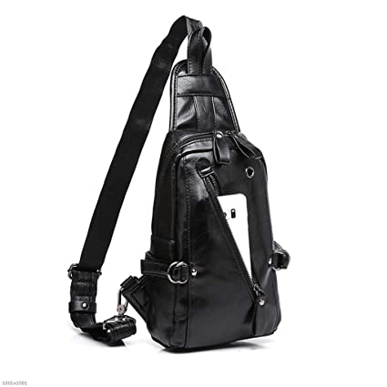 ea11f318f33d Amazon.com: YJRDA Men's Chest Bag, Shoulder Bag Soft Leather Casual ...