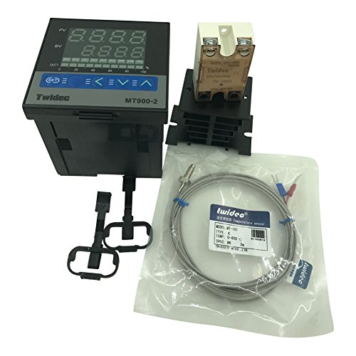 Twidec MT900-2 PID Temperature controller, 90-240VAC, 0-400 °C, Input: K, Output: SSR(DC12V);K screw probe, probe lead length 2M(78.74 inches);TH-25DA SSR 25A;Black heat sink by twidec