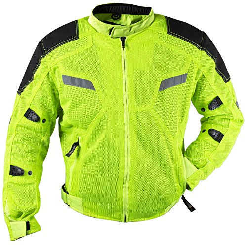 Xelement XS1792 'Yield' Men's High-Viz All Weather Mesh Level 3 CE Armored Motorcycle Jacket - 4X-Large