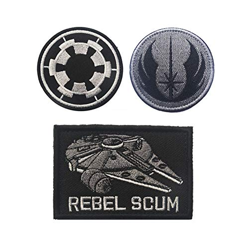 - SOUTHYU 3 Pieces Star Wars Rebel Scum/Jedi Order/Imperial Target Tactical Morale Patches Badge Embroidered Military Emblem, Hook and Loop Patch
