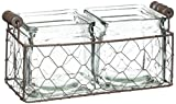 Blossom Bucket Rustic Double Square Glass Bottles with Wire, 10″ x 4.50″ For Sale