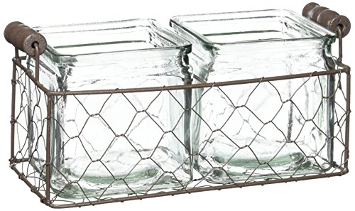 Blossom Bucket Rustic Double Square Glass Bottles with Wire, 10