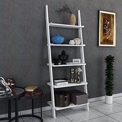 Artesia MDF White Ladder Shape 5 Tier Designer Book Shelf Wall Rack Shelf