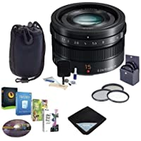Panasonic Lumix G Leica DG Summilux 15mm f/1.7 ASPH Lens for Micro Four Thirds, Black - Bundle with 46mm Filter Kit, Lens Case, Cleaning Kit, Lens Wrap (15x15), Pro Software Package
