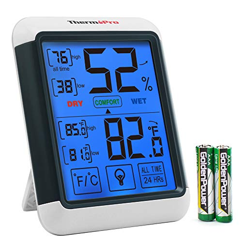 - ThermoPro TP55 Digital Hygrometer Indoor Thermometer Humidity Gauge with Jumbo Touchscreen and Backlight Temperature Humidity Monitor