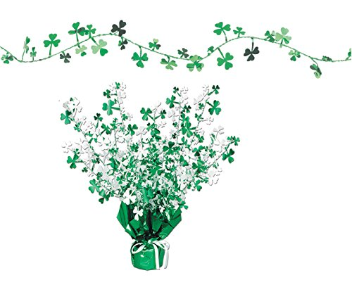 St. Patrick's Day Party Decoration Accessories with Shamrock Garland and Gleam 'N Burst Centerpiece - Bundled by Maven Gifts - St Patrick Catholic Costume