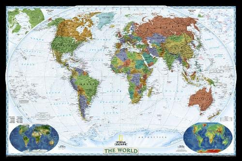 National Geographic: World Decorator Enlarged Wall Map - Laminated (73 x 48 inches) (National Geographic Reference Map) by National Geographic Maps