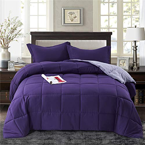 HIG 3pc Down Alternative Comforter Set - All Season Reversible Comforter with Two Shams - Quilted Duvet Insert with Corner Tabs -Box Stitched -Hypoallergenic, Soft, Fluffy (King/Cal King, Purple) (Comforter Set Black Purple And King)