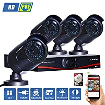 KAREye 4CH 720P NVR Kit Wireless Network Security Camera System Pre-installed 1TB Hard Drive, W/ 4x 1.0MP WIFI Bullet IP Cameras (IR Night Vision, Smart Motion Detection, Remote Access)