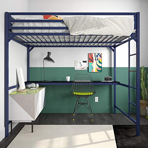 DHP 4308629 Miles Full Metal Loft Bed with Desk, Blue,