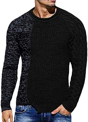 Mens Ribbed Sweater Knitted Pullover Color Block Comfort Twisted Long Sleeves Sweaters