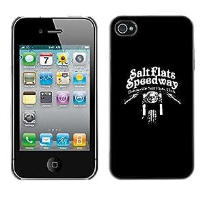 Be-Star Único Patrón Plástico Duro Fundas Cover Cubre Hard Case Cover Para Apple iPhone 4 / iPhone 4S / 4S ( Salt Flats Speedway Motorcycle Biker )