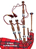 McWilliams PROFESSIONAL SCOTTISH HIGHLAND BAGPIPE FNS MOUNTS ROYAL STEWART TARTAN AND BAG