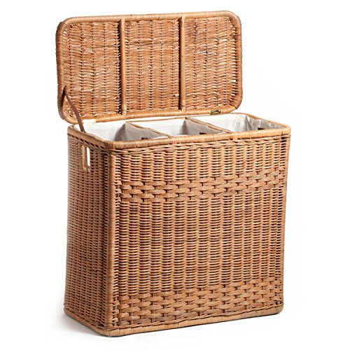 Laundry Basket With 3 Separate Compartments