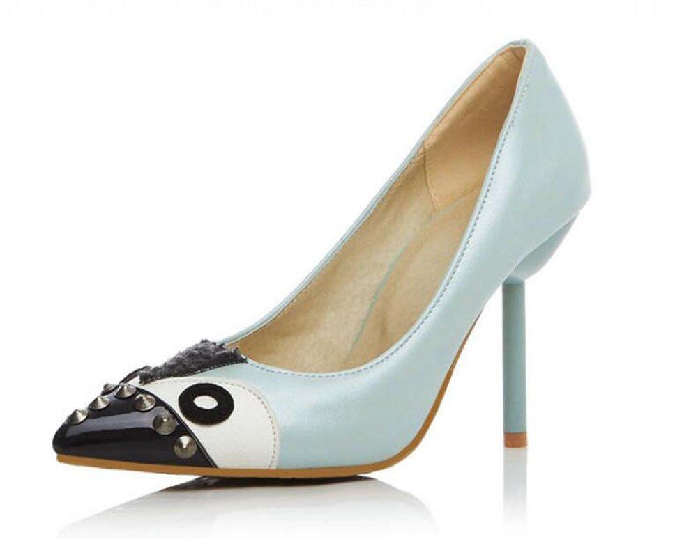 Damen Spitz-Zehen-Pumpe Neue Nähte Farbe Feine High-Heel Sandaleen Persönlichkeit Niet Schuhe Court Schuhe Für Frauen Größe 32-43