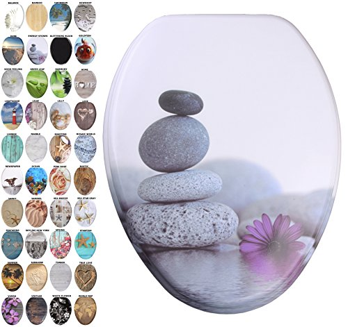 Sanilo Elongated Toilet Seat  Wide Choice Of Slow Close Toilet Seats  Molded Wood  Strong Hinges  Energy Stones