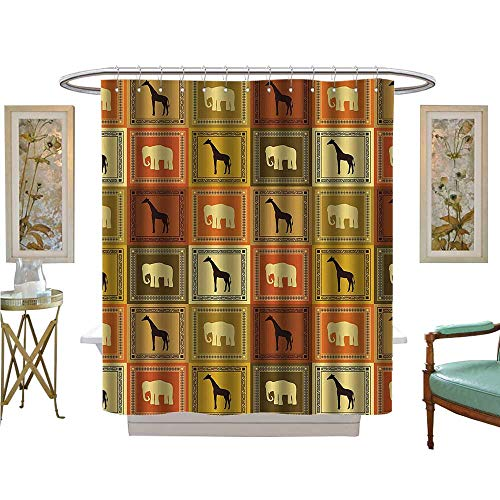 Leigh R. Avans Shower Curtains Digital Printing African AnimalsSilhouette Exotic UNA Frame Vintage Fabric Bathroom Set with Hooks (Tie Leigh Silk)