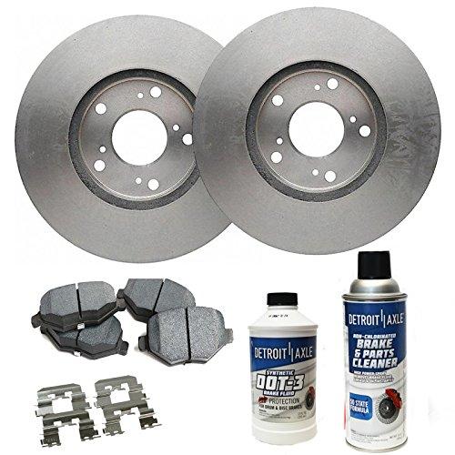 Detroit Axle - Front Brake Rotor Set & Brake Pads w/Clips Hardware Kit & BRAKE CLEANER & FLUID INCLUDED for 08-10 Chrysler Town & Country - [08-10 Dodge Grand Caravan/Journey] (Axles Mini Set)