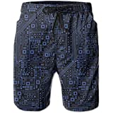 Boys Circuit Board Swim Trunks Beachwear for Beach Athletic Sport - Classic-Fit Quick Dry Loose Drawstring Board Shorts Big & Tall Swim Trunks