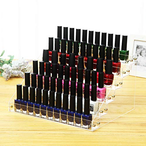MaxFox 6 Layer Nail Storage Rack Polish Rack Essential Oil Display Cosmetic Bottles Display Shelf Tabletop Rack for Lovers Gifts (Clear)