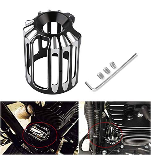 AQIMY Black CNC Aluminum Oil Filter Cover Cap Trim For Harley-Davidson Twin Cam Models Touring Glide Softail ()