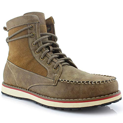 Polar Fox Jasper MPX508013PL Mens Casual Moc Toe Heritage Leather Lining Wedge Boots - Brown, Size 10.5
