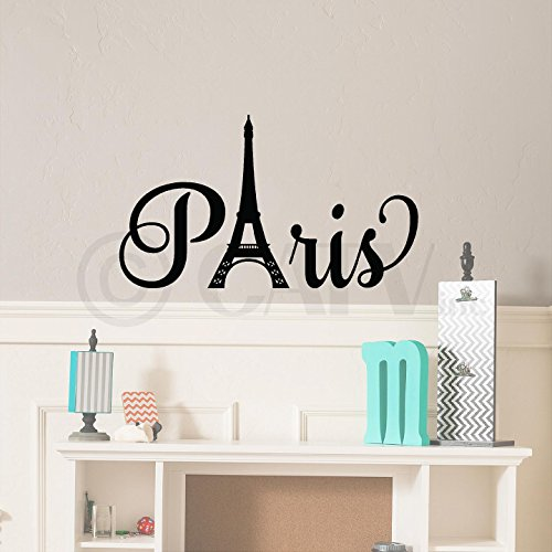 Paris with Tower vinyl lettering quote wall saying decal sticker art self adhesive london decal (13