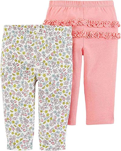 Carter's Baby Girls' 2-Pack Pull-On Pants (Flowers/Pink, 18 Months)