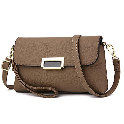 GWQGZ Ms Simple Bolso Estilo Bolsa-Match Gris Brown
