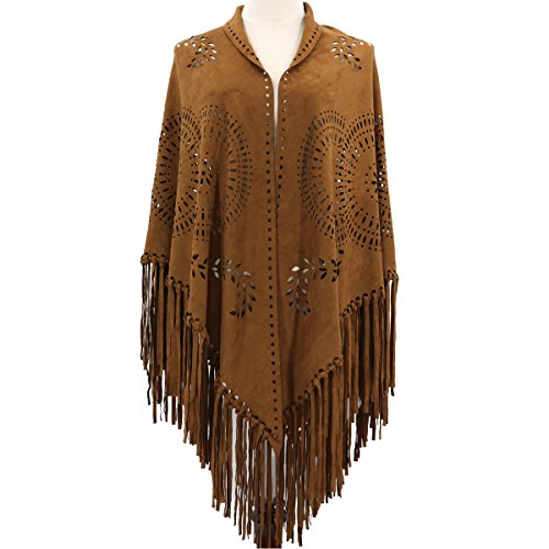 ZOFZ Fashion Suede Laser Cut Fringed Cape Shawl Wrap Scarf 4 Colors (Brown)