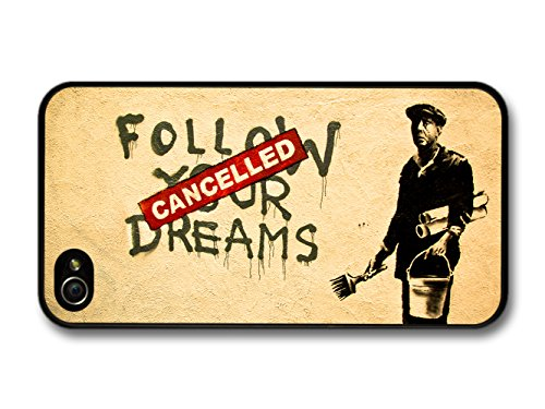 """Banksy """"Follow Your Dreams - Cancelled"""" Street Art iPhone 4 4S case"""