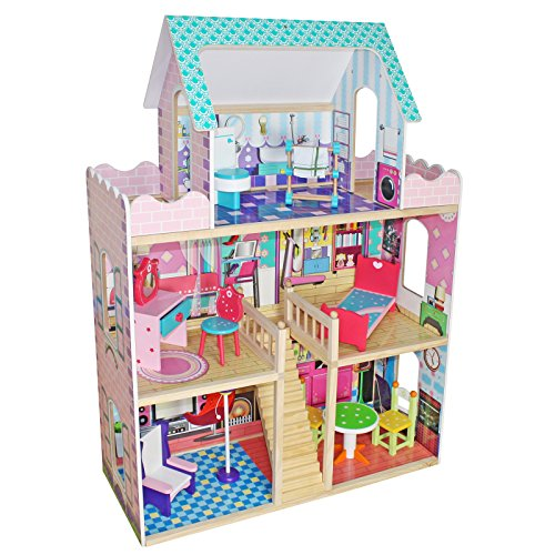 Timy Wooden Dollhouse with Furniture