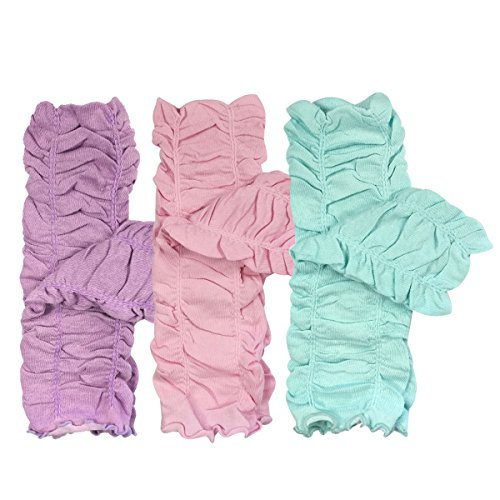 Bowbear Little Girls 3 Pair Gathered Ruffles Leg Warmers, Lilac, Ballet Pink, Sky Blue ()
