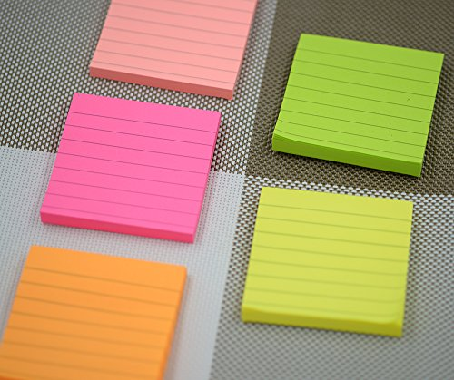 Sticky Notes, Memo Self-Stick Notes, Lined ,3X3 Inches 80 Sheets/Pad 12 Pad/Pack, 5 Colors Photo #6