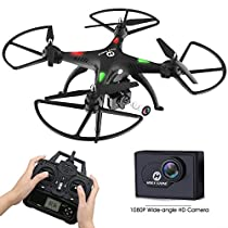 Holy Stone HS300 RC Drone Quadcopter with 1080p Wide-angle Camera, 6-Axis Gyro with Altitude Hold, One Key Return, and Headless Mode