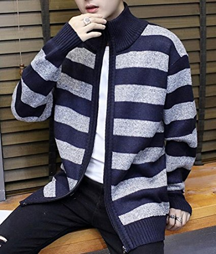 Cardigan Full amp;S Zipper M Navy amp;W Sweater Warm blue Print Strip Women's Winter dzxaqSwx0Z