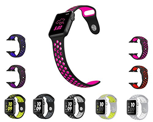 Vitech Soft Silicone Nike+ Sport Style Replacement Strap band for Apple Wrist Watch Series 1 Series 2 (42mm M/L Black/Rose)