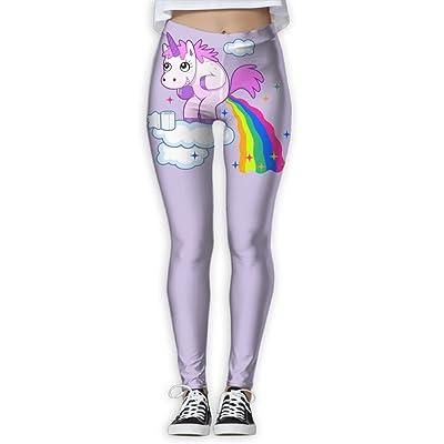 VDSFEE1DR Pooping Rainbow Unicorn Women's Printed Yoga Pants