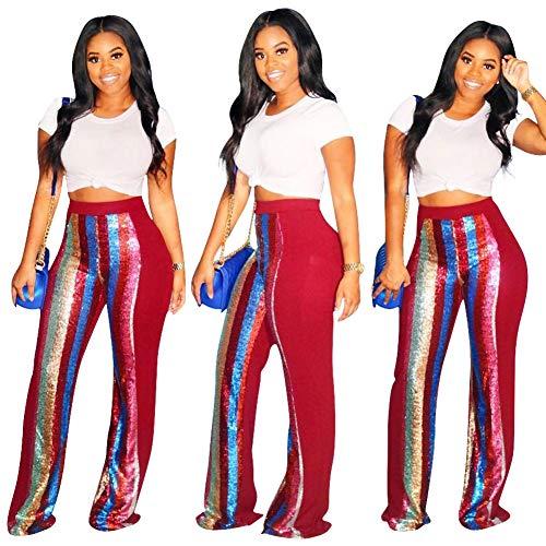 Women Sexy Sequin Long Pants - High Waist Wide Leg Trousers Leggings Clubwear Red XL