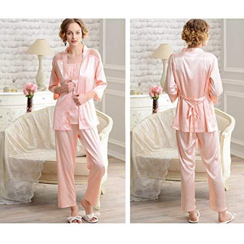 Modernas Pijamas Mujer Camisola Primavera Dormir Cinturón string Splice Batas Con Cardigan Elegantes Larga Fashion Otoño 3 Casual Ropa Piezas cuello Manga Pink De Conjunto Encaje V Pijama G vw6rYSvq