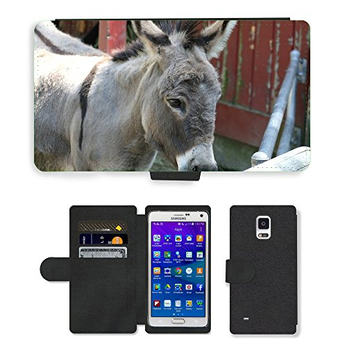 Hot Style Cell Phone Card Slot PU Leather Wallet Case // M00130832 Donkey Burro Mule Jackass Ass // Samsung Galaxy Note 4 (Jackass Note)
