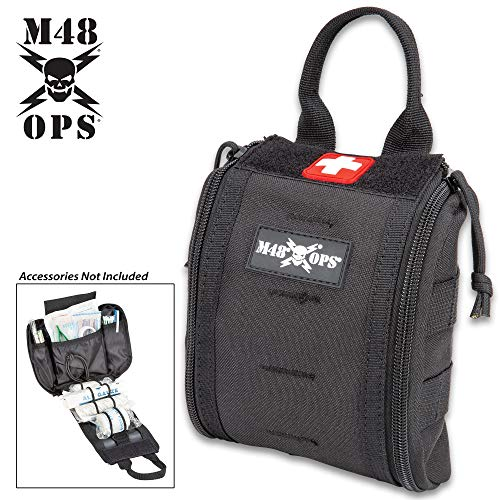 "M48 Medical Pouch - 600D Polyester Construction, MOLLE Webbing, Double Zipper Closure, Inside Bungee Cord System - Dimensions 6 1/2""x 6"" - Black"