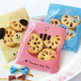 Yunko 300pcs Lovely Animals Puppy Cat & Bear Paw Self-adhesive Candy Cookie Bags for Wedding Birthday Party Gift Packaging