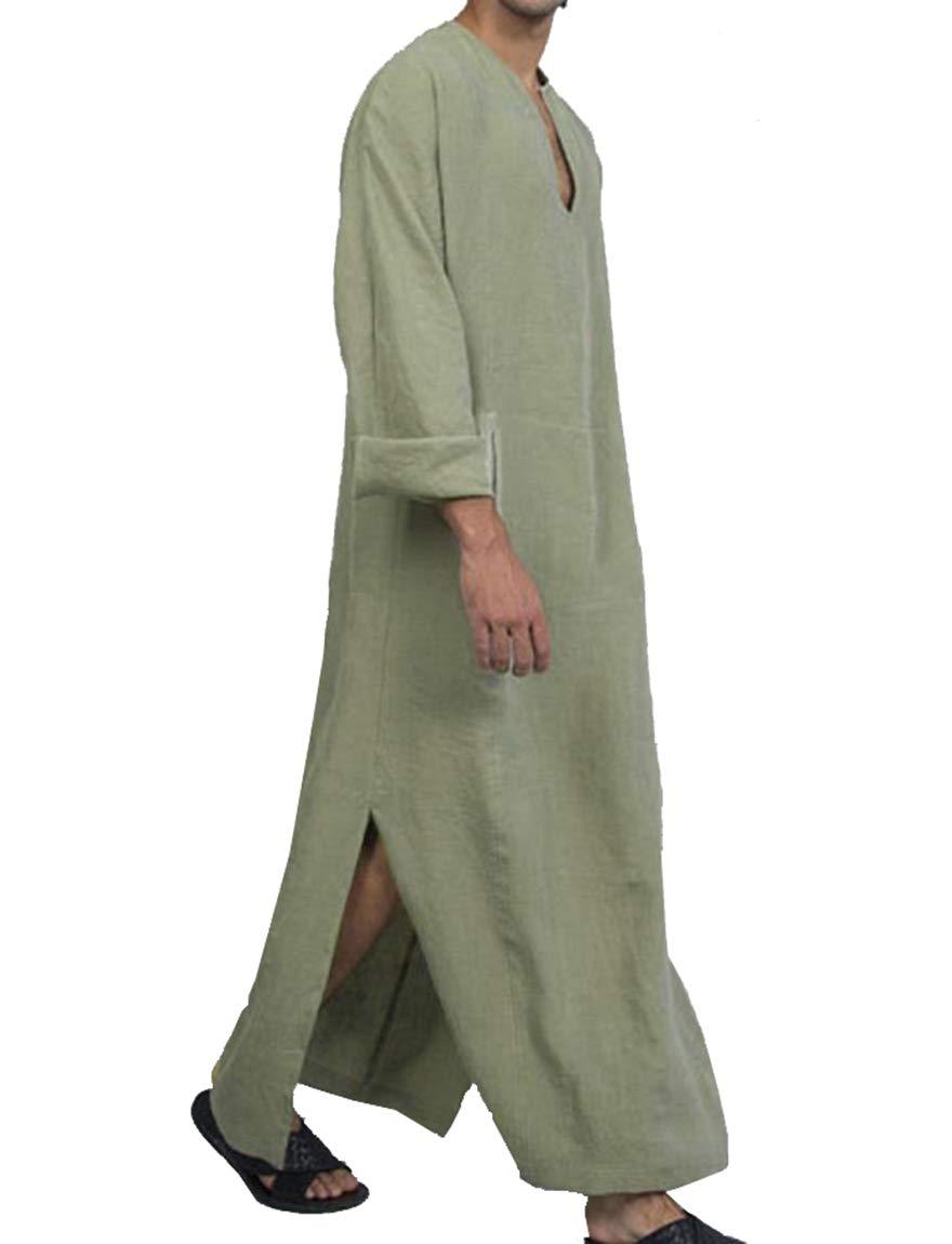 Tootless Men's Arab Ethnic Style Muslim Linen Solid Islamic Kaftan Dresses Khaki 2XL