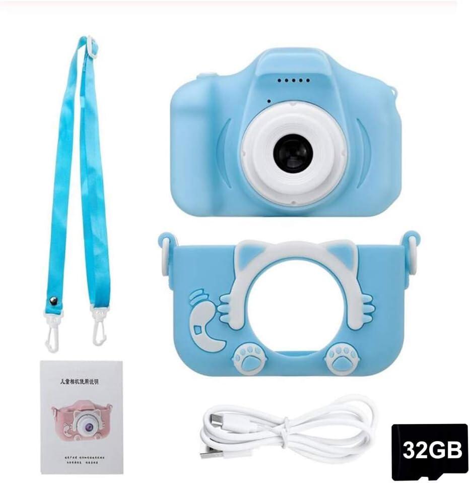 HAHALE 2020 cámara HD 1080P Digital de Doble cámara para niños de los niños con la cámara de 32G Caso niños de Dibujos Animados para la Edad 3-14,Azul