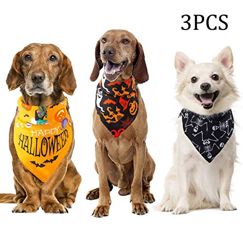 Dog Halloween Ideas (Acronde 3PCS Halloween Dog Bandanas Triangle Bibs Pet Collar Pumpkin Cat Pet Scarf for Halloween Decor Washable Dog Large or Small)